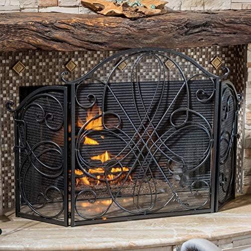 エクストラワイド暖炉スパークプロテクション、ブラックヘビーデューティメタルメッシュ暖炉スクリーンフラット、自立アンティークウエスタンゲート