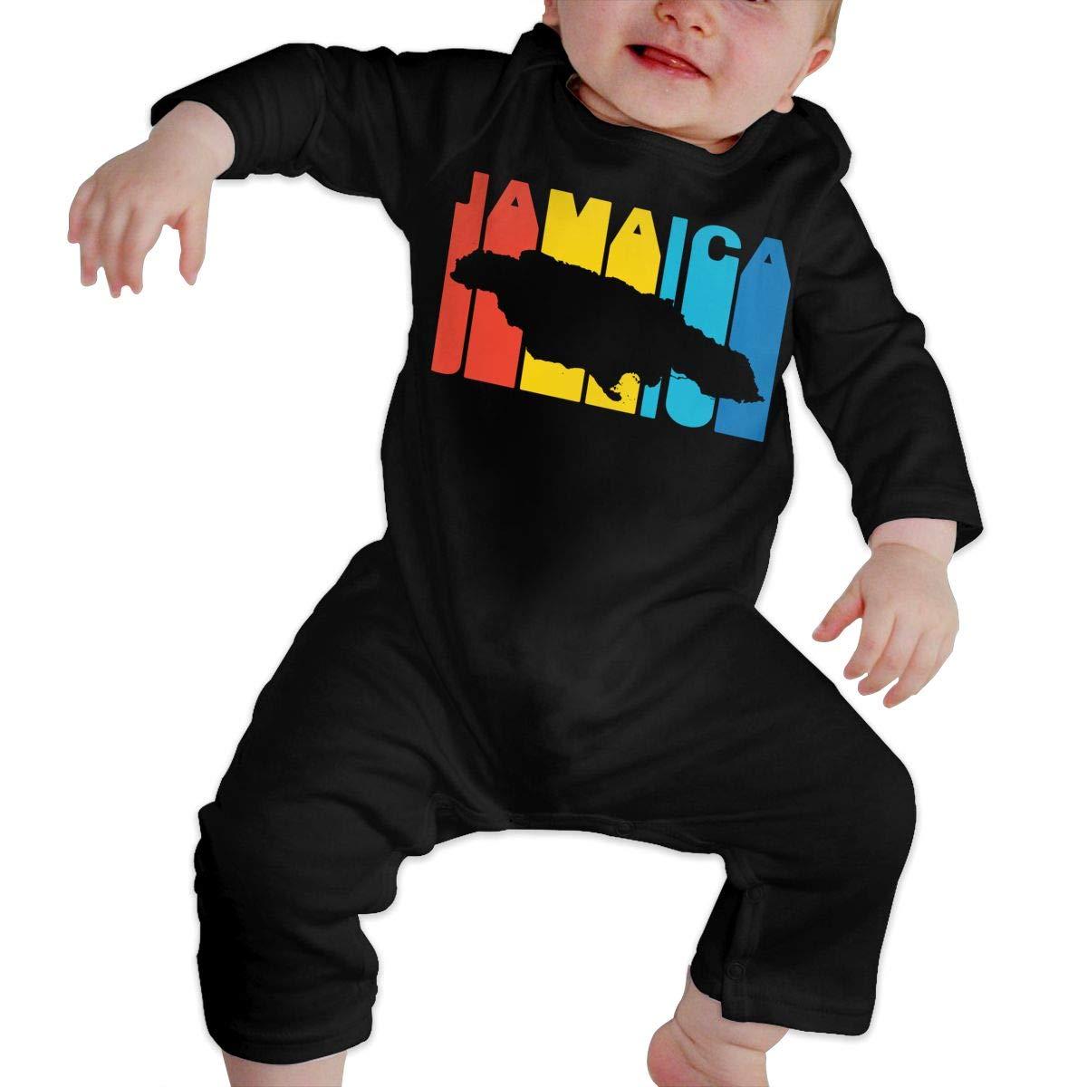 LBJQ8 Jamaica Retro 1970s Style Newborn Toddler Baby Organic Cotton Romper Jumpsuit Bodysuit
