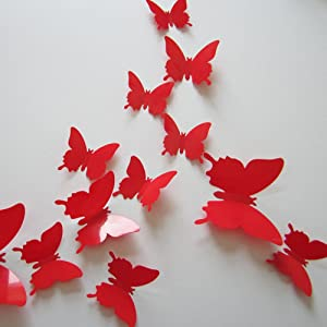 24pcs 3D Butterfly Removable Mural Stickers Wall Stickers Decal for Home and Room Decoration (Red)