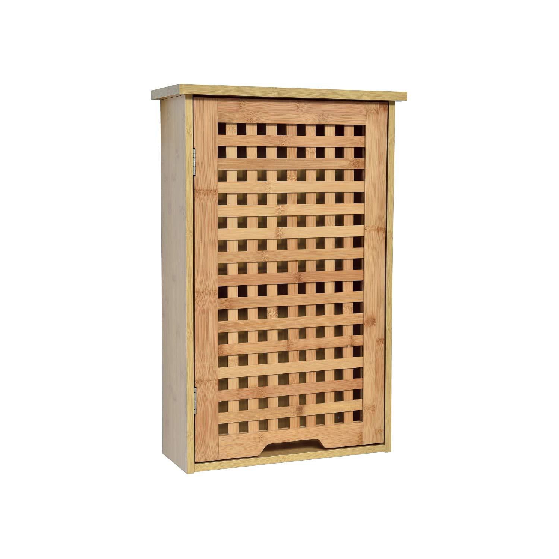 Mueble Ba/ño Bamb/ú 40 x 15 x 61,5 cm TENDANCE Armario Ba/ño Pared Koh Lanta 1 puerta con 1 Estante Interior
