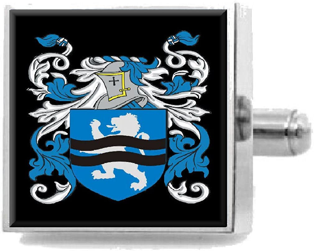 Select Gifts Worrall England Family Crest Surname Coat Of Arms Cufflinks Personalised Case