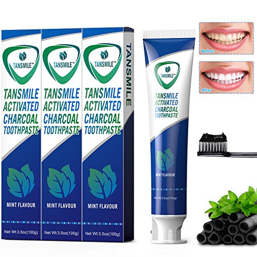 Charcoal Toothpaste, Tansmile Natural Teeth Whitening Toothpaste Activated Bamboo Charcoal Toothpaste Black Fluoride-Free Toothpaste Mint Flavor (Pack of 3)