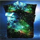 3 Pieces 100% Cotton Kids Galaxy Duvet Cover Set Duvet Cover Fitted Sheet Queen Size