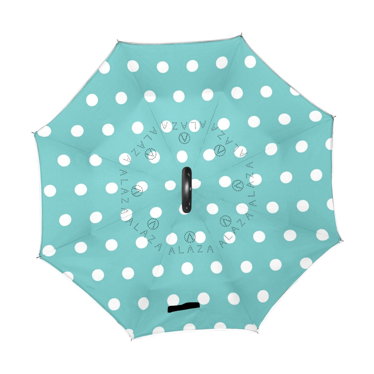 U LIFE Vintage Polka Dots Reverse Inverted Sun Rain Umbrellas for Car Outdoor Use With C-shaped Handle   B078YQX1X9