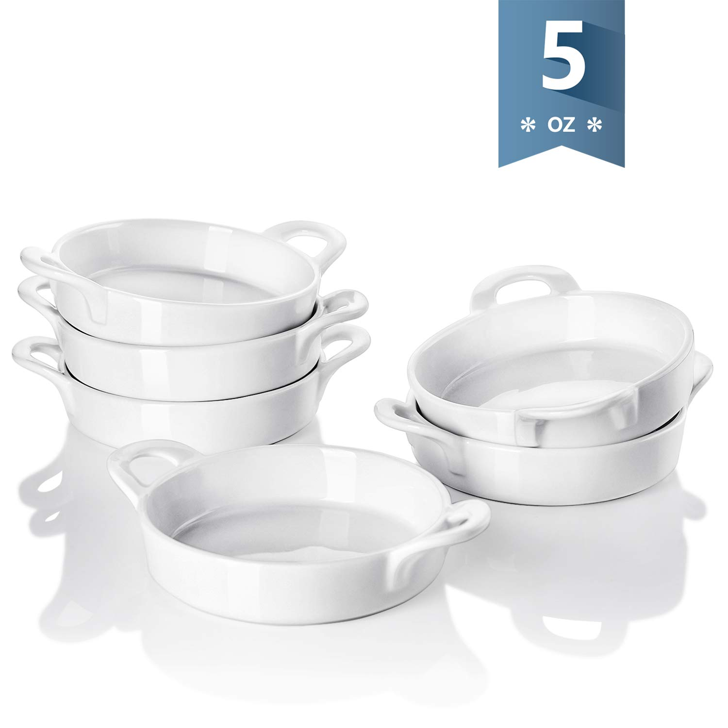 Sweese 5116 Porcelain Ramekins, 5 oz Ramekins for Baking, Round Creme Brulee Dish with Double Handle-Set of 6, White