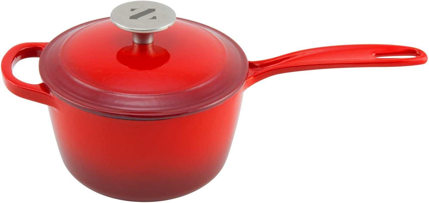 Barbecue Sauce Pot Spaghetti Sauce Pot Teal Zelancio Enameled 2-Quart Cast Iron Sauce Pan Pot with Lid Perfect as a Bean Pot or Pasta Sauce Pot
