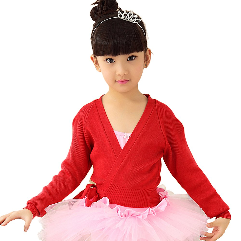 BAOHULU Girls Long Sleeve Classic Dance Knit Wrap Girls Warm-up Sweater Wrap Top