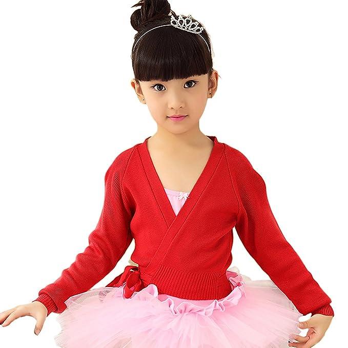7c19bb509db9 BAOHULU Girls Long Sleeve Classic Dance Knit Wrap Girls Warm-up ...