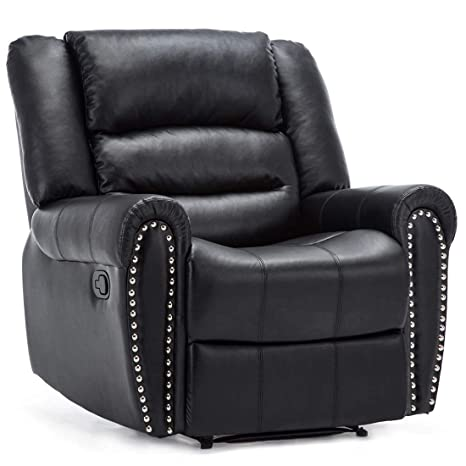 Surprising More4Homes Denver Bonded Leather Recliner Armchair W Stud Sofa Home Lounge Chair Reclining Black Ocoug Best Dining Table And Chair Ideas Images Ocougorg