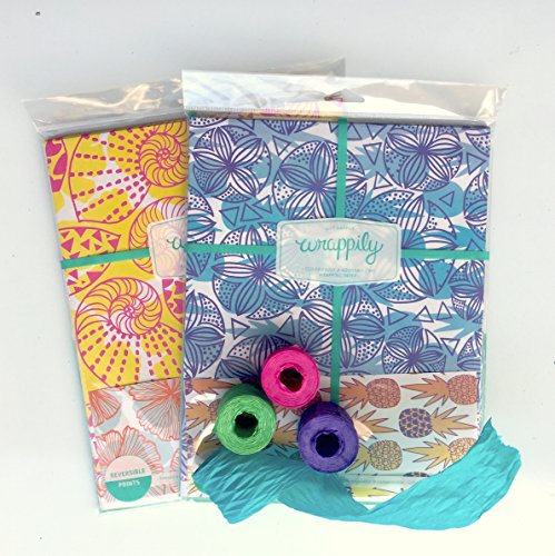 Hibiscus Ribbon (Island Tropical Eco Gift Wrap Set - Reversible Wrapping Paper and Ribbon - Eco-friendly Gift Wrap by Wrappily)
