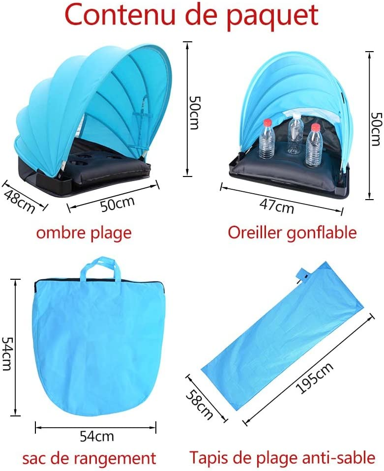 CHENYUE Portable Beach Sun Shade Canopy Face Shade Pillow Tent Adjustable Face Sun Beach Shade Protection Tent with Pillow Pop Up Sunbathing Tent