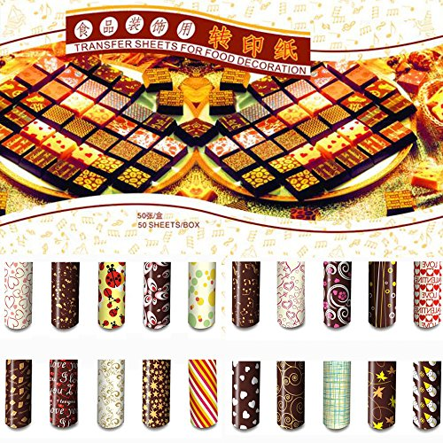 Grainrain Colorful DIY Chocolate Transfer Sheet Food Decoration Paper (50 pcs/set)