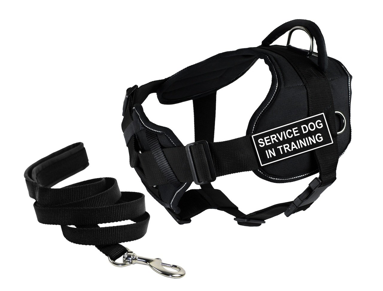 Dean & Tyler's DT Fun Chest Support ''SERVICE DOG IN TRAINING '' Harness with Reflective Trim, Large, and 6 ft Padded Puppy Leash.