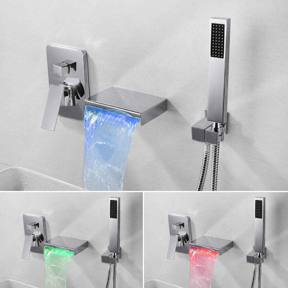 Faucet Bathtub Faucet para Black Montado en la pared Mezclador de agua fr/ía y caliente LED Ba/ño Waterfall Faucet-BlackLED