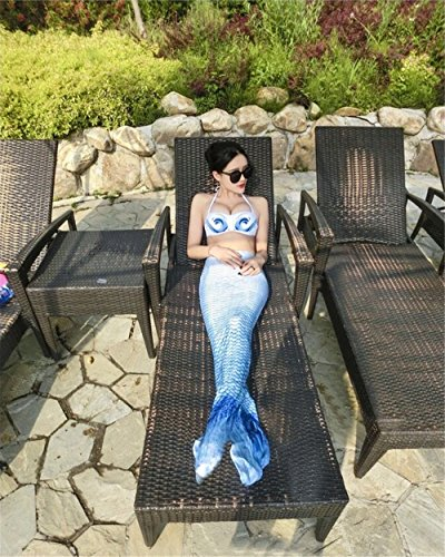Kpblis174; Mermaid Tails Costume for Swimming,High Flexibility Blue Mermaid Swimsuit for Adults Includes Bikini (XL)