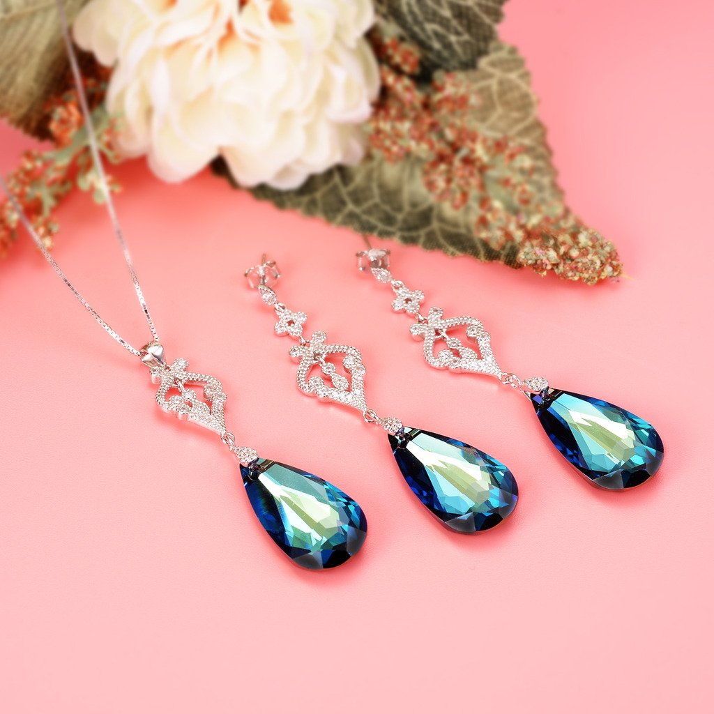 EVER FAITH 925 Sterling Silver CZ Teardrop Chandelier Pendant Adjustable Necklace Earrings Set Bermuda Blue Adorned with Swarovski crystals