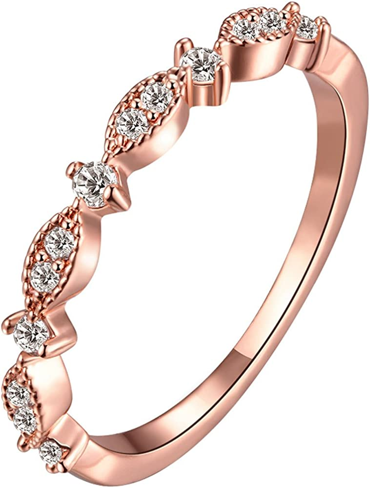 BOHG Jewelry Women's 3mm 18k Rose Gold Plated Cubic Zirconia CZ Love Eternity Promise Ring Wedding Band
