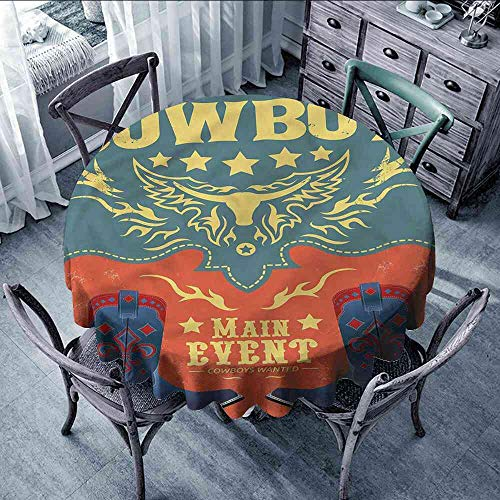 LsWOW Tablecloth Western,Traditional Cowboy Shoes Picnic Tablecloth Clamps Extra Large -