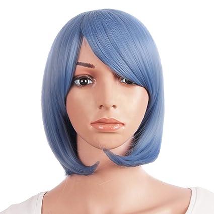Mapofbeauty 12 Pulgadas/30cm Mujeres Corto Recto Peluca Cosplay Parte Bob(Luz Azul Violeta