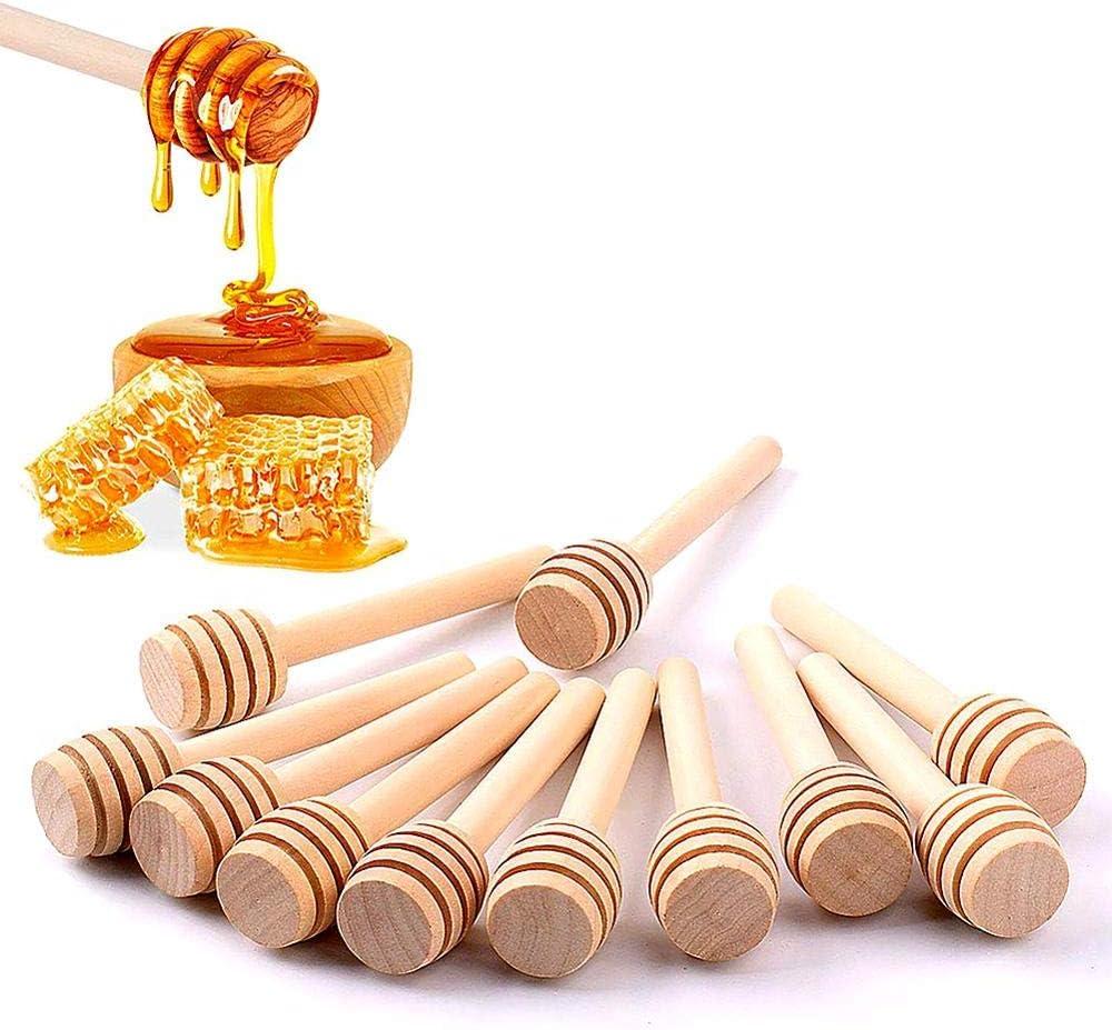 Juego de 50 varillas de miel para el hogar, de madera, portátil, mini tarro para mermelada, dispensador de miel, recolección, varilla de agitación, arilla de dosificación mino (8 cm)