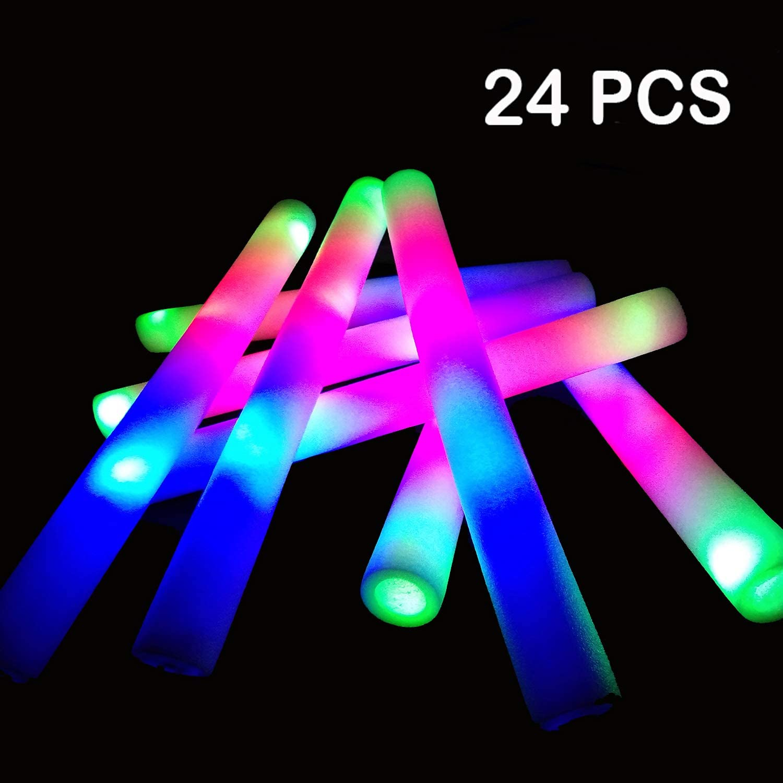 YJOY LED Foam Glow Sticks-24PCS Light Up Foam Baton Glow in The Dark Party Supplies with 3 Flashing Modes for Festivals Rave Birthday Wedding Halloween Christmas