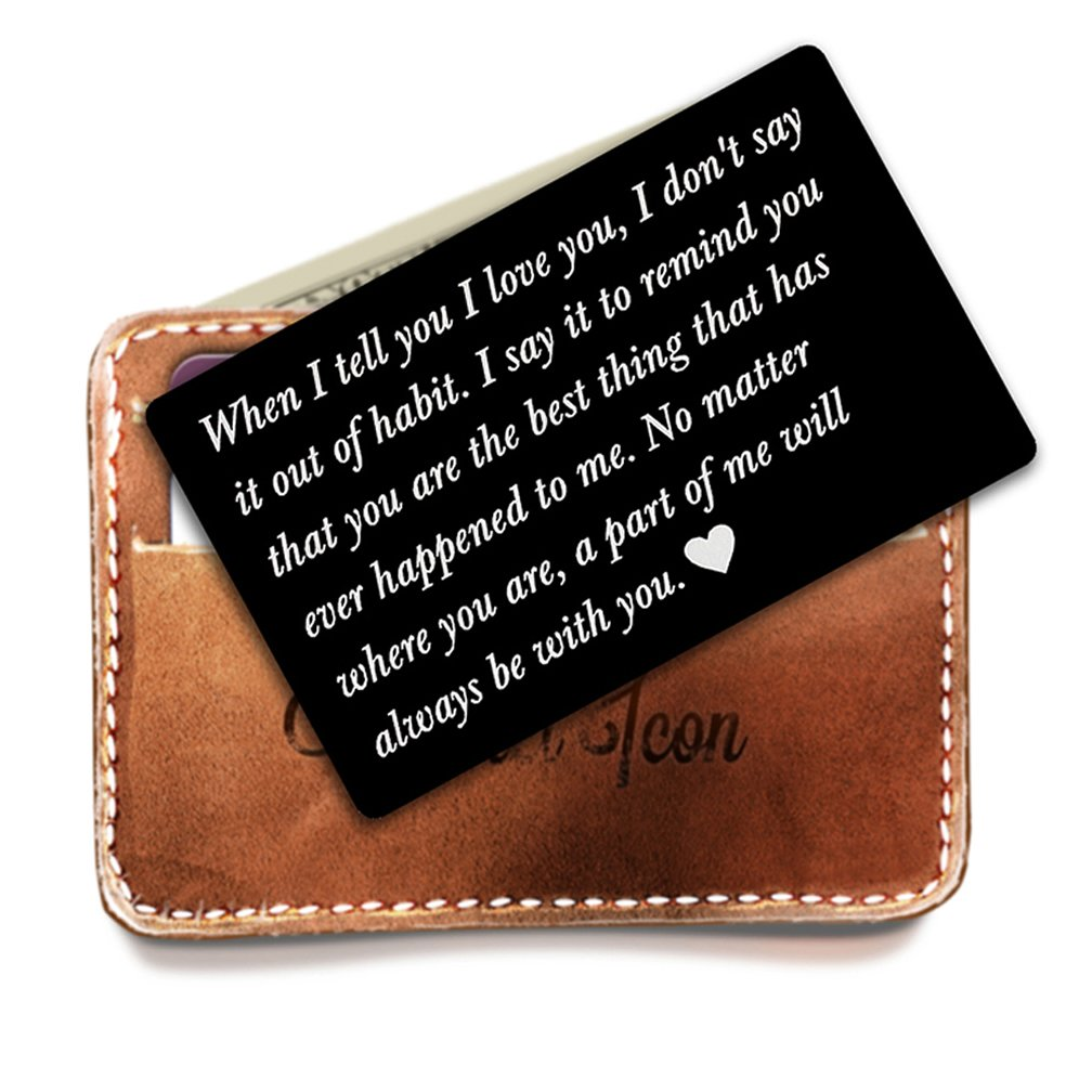 Engraved metal card insert, Wallet Love Note - Anniversary Gift for men wallet insert, deployment gift for him, Anniversary Gift, Boyfriend Gift, husband gift