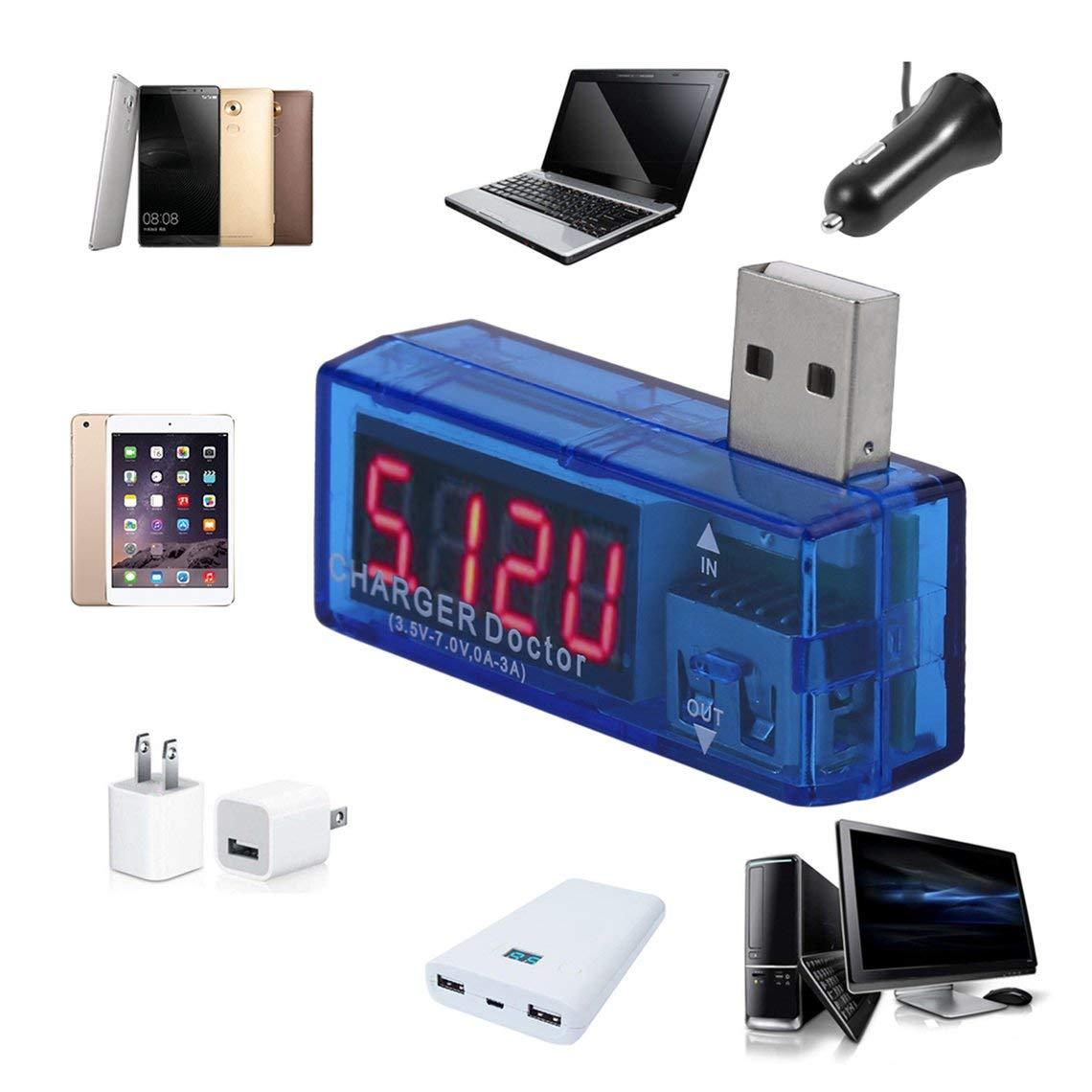 Zinniaya 3.5V-7.0V Volt/ímetro Amper/ímetro USB Probador de Capacidad de Fuente de alimentaci/ón m/óvil Detecci/ón de Capacidad de Fuente de alimentaci/ón
