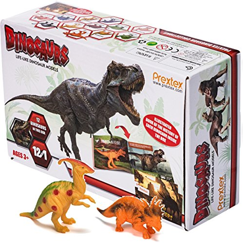 Prextex Realistic Looking 7'' Dinosaurs Pack of 12 Large Plastic Assorted Dinosaur Figures With Dinosaur Book by Prextex (Image #2)