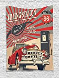 Ambesonne Cars Tapestry, Poster Style Image Gasoline Station Commercial Kitschy Element Route 66 Print, Wall Hanging for Bedroom Living Room Dorm, 40 W X 60 L Inches, Vermilion Beige