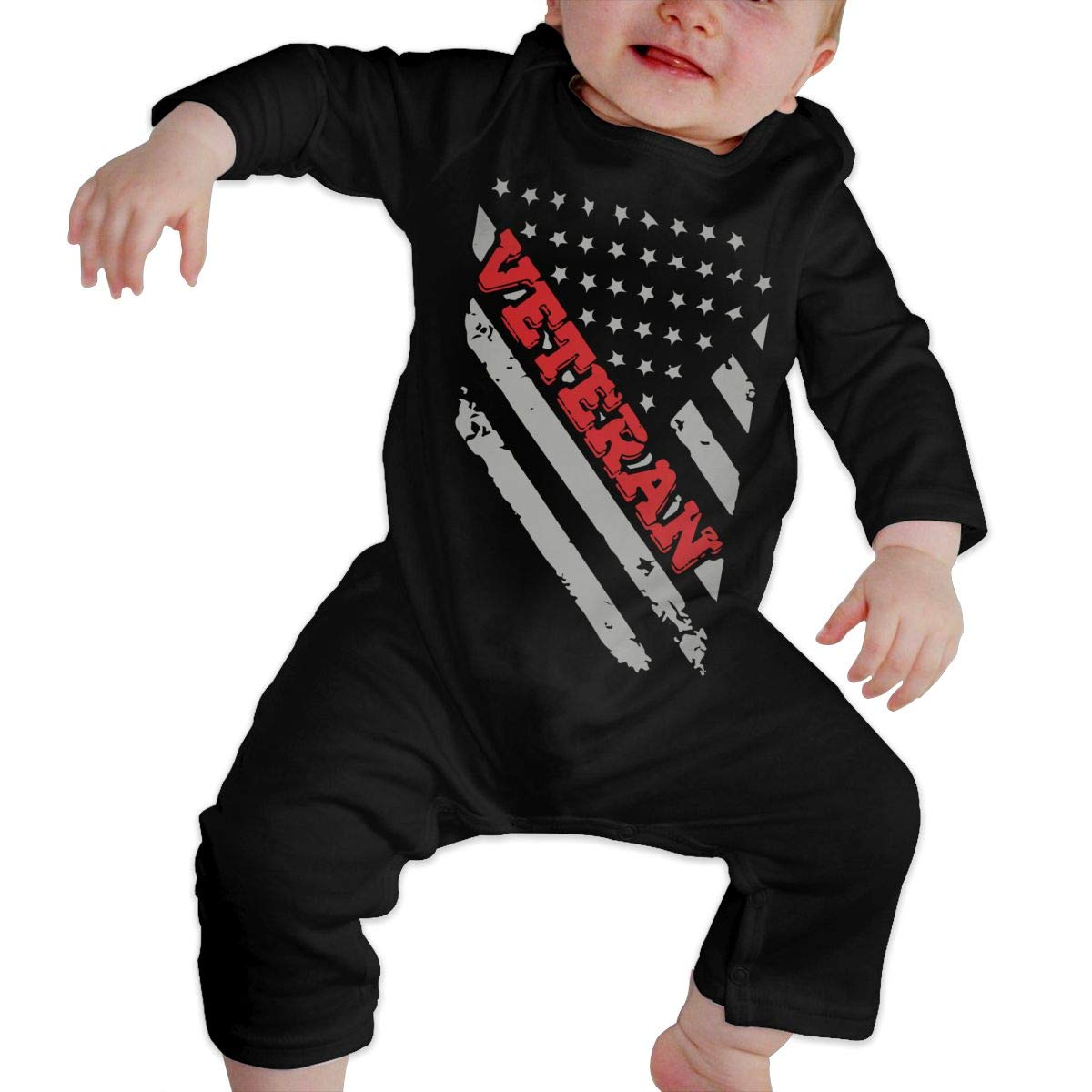 LBJQ8 Veteran Flag1-1 Infant Baby Boy Girl Organic Cotton Romper Jumpsuit