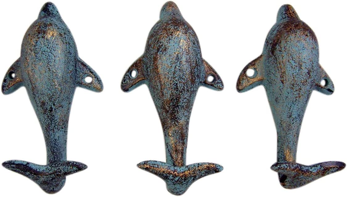 Tropical Dolphin Tail Cast Iron Wall Hook 2 1/2 Inch (Set of 3)