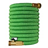 2017 Improved Design Expandable Garden Hose with Brass Connectors, by Golden Spearhead, 100-Feet, Light Green