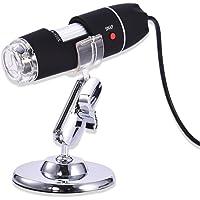 Feiledi Trade 5MP USB microscope, 40To1600X microscope USB appareil photo numérique endoscope Loupe PC Android 8LED support en métal, compatible Mac Windows 7810Android Linux certains téléphones Android