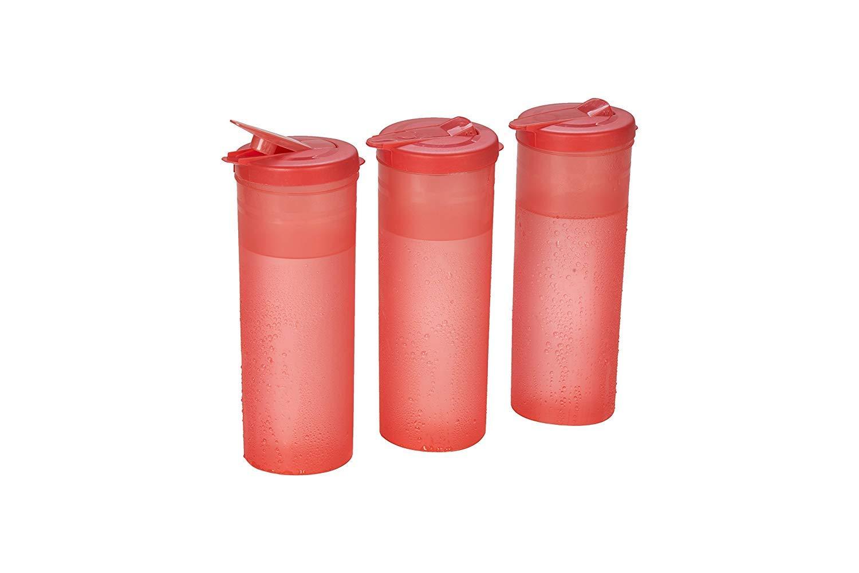 Plastics Freeze Bottle Set, 1 Litre, Set of 3, Red