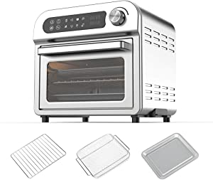 Air Fryer Oven Toaster Oven - 8 in 1 Combo, Convection Roaster with Dehydrator, 11QT 1500W For Large Family, Original Recipe and Accessories Included, LED Touch Screen, FDA Stainless Steel. (Silver 11QT 1500W)