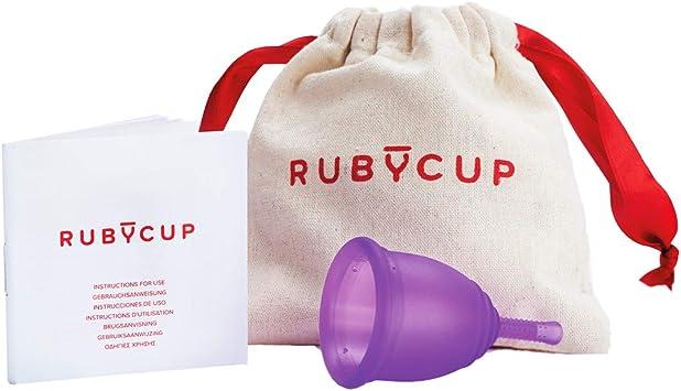 Ruby Cup - Copa menstrual hipoalergenica- talla M (grande, flujo abundante) – VIOLETA – Incluye donación de copa. Perfecta para principiantes. Una ...
