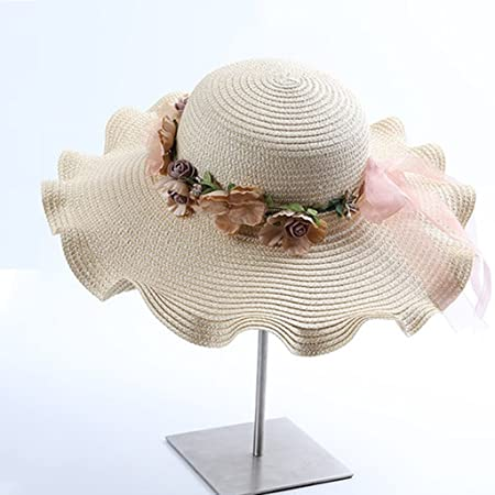 6e23a9e217ea5 ZUOANCHEN Sun Hat Women s Folable Floppy Hat Big Bowknot Straw Hat Wide  Brim Beach Hat 50+ UPF With Ribbon Knot With Words For Women Grils (Color    J)  ...