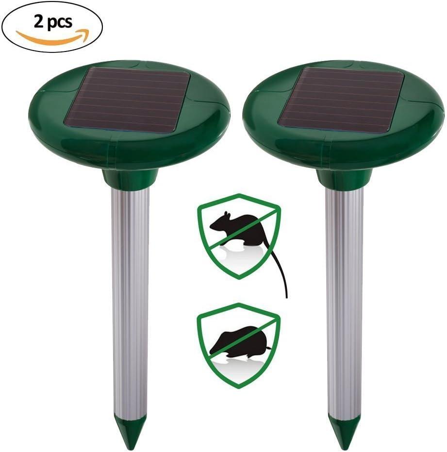 Xiton 2 Paquete solar solar del topo Repelente Repelente ultras/ónico del roedor al aire libre de Spike campa/ñol Cazador domada Gopher de c/ésped de jard/ín patio Control de plagas