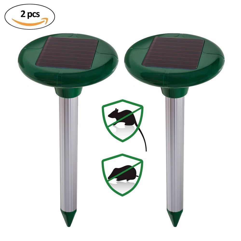 Xiton 2 Paquete solar solar del topo Repelente Repelente ultrasónico del roedor al aire libre de Spike campañol Cazador domada Gopher de césped de jardín patio Control de plagas