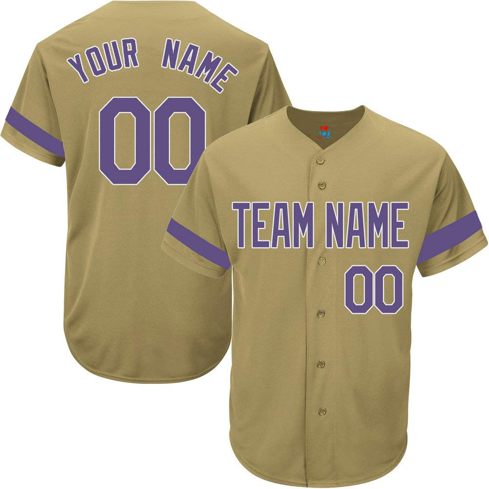 Gold Custom Baseball Jersey for Youth Game Personalized Team Player Name & Numbers,Purple-White Striped Size 3XL by Pullonsy
