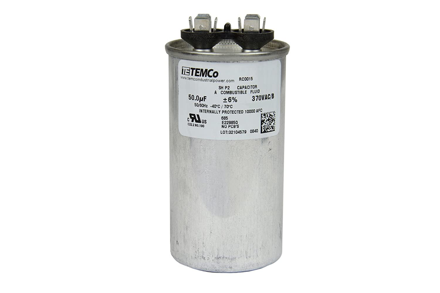 Temco Motor Run Capacitor Rc0015 50 Mfd 370 V Vac Volt Swimming Pool Hayward Pump Wiring Diagram Uf Round Hvac Ac Electric Automotive