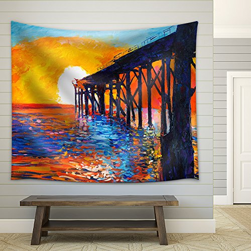 Original Oil Painting of Jetty(Pier) or Quay Rich Golden Sunset Over Ocean Impressionism Fabric Wall
