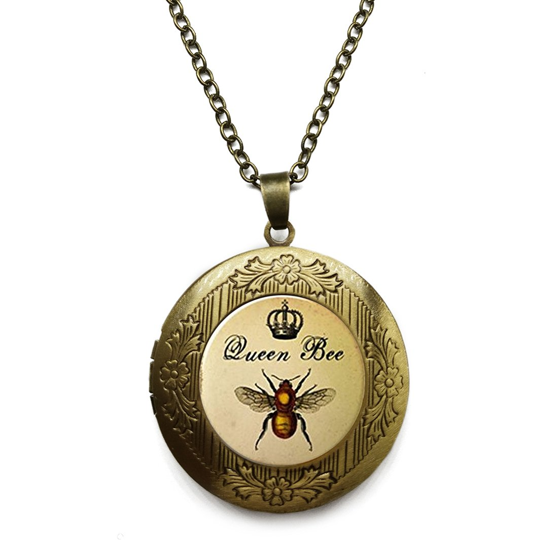 Vintage Bronze Tone Locket Picture Pendant Necklace Our Motif The Egyptian Pharaoh Included Free Brass Chain Gifts Personalized