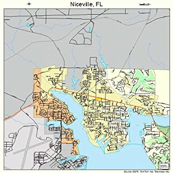 Amazon.com: Large Street & Road Map of Niceville, Florida FL ...