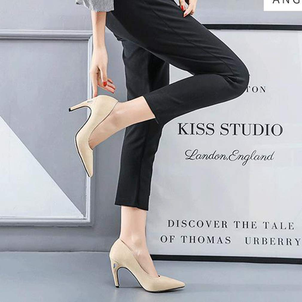 CYBLING Women's Sexy Pointed Toe Pumps Slip on Lady Stiletto Office Lady on Wedding Party Basic Dress Shoes B07GQZBL9L 8.5 M US apricot 030fc7