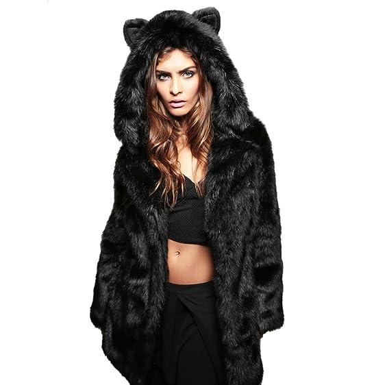 PanDaDa Women's Faux Fur 3D Panda Winter Warm Hooded Coat Fur ...