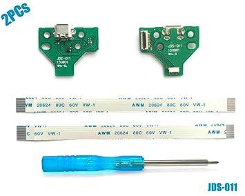 2PCs JDS-011 Tarjeta de Puerto de Carga Micro USB para Mando PS4, Replacement Placa de Conectores de Carga Adaptador con Flex Cable para Controlador ...