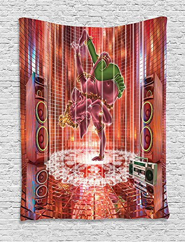 asddcdfdd Animal Decor Tapestry, Ethnic Elephant Dancing Rocking the Dance Floor with its Meditating Moves Print, Wall Hanging for Bedroom Living Room Dorm, 40 W x 60 L Inches, Multi by asddcdfdd