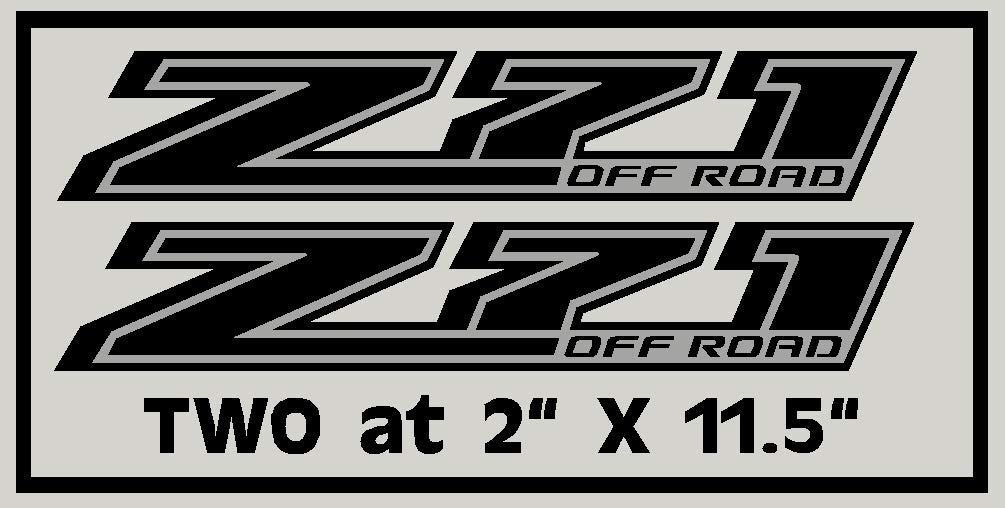 Set of Two Small Black and Silver Z71 4x4 Decals Sticker 2014-2019 Parts For Silverado GMC Sierra Truck