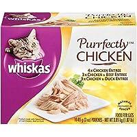 Whiskas Purrfectly Chicken Variety Pack Comida húmeda para gatos 3 onzas (cuatro 10 cuentas)